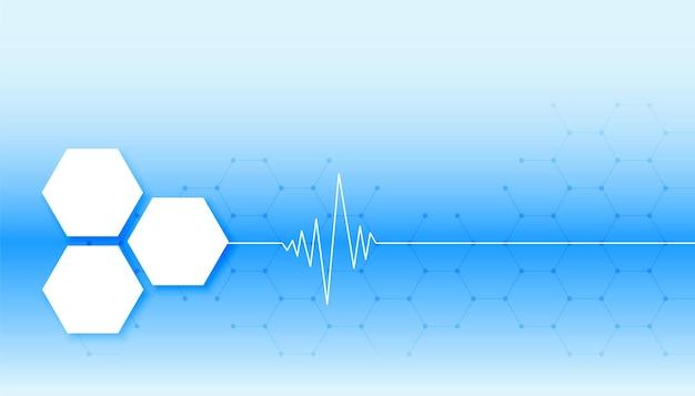 Sfondo medico blu con linea del battito cardiaco e forme esagonali