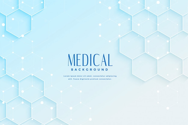 Blue medical background with hexagonal shape design