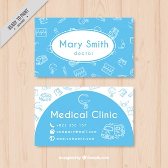 Blue medical card with drawings