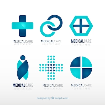 Blue medical center logo templates
