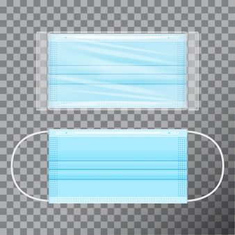 Blue medical face mask in transparent packaging. realistic  on transparent background