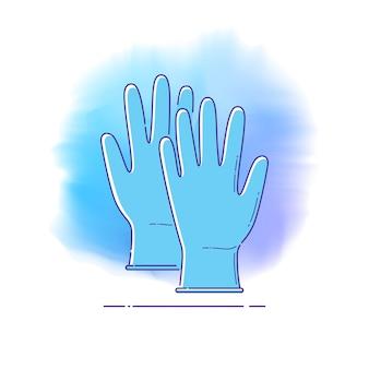 전염병 예방, 코로나바이러스 전염병 예방에 대한 인포그래픽을 위한 원 라인 아이콘에 파란색 의료 장갑. 평면 스타일의 벡터 템플릿입니다. 감염병의 개인보호 및 예방수단