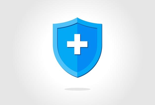 Синий медицинский щит защиты здоровья с концепцией стальной защиты, защищенной крестом