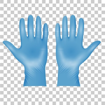 블루 의료 라텍스 보호 장갑, 투명에 현실적인 검은 장갑. 세부 정보 3d 스타일 의료 장갑입니다. 벡터 일러스트 레이 션 프리미엄 벡터