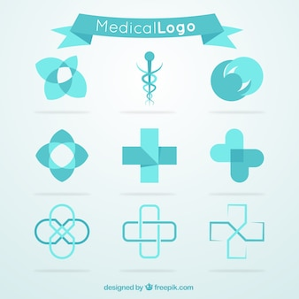 Blue medical logo collection