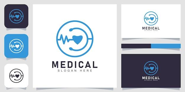 Синий медицинский логотип с концепцией круга