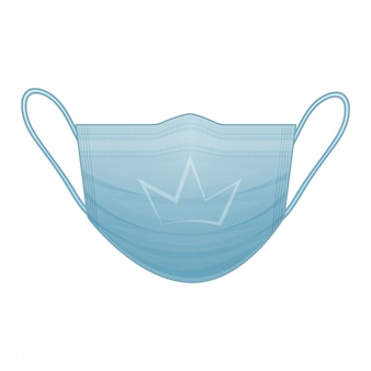 孤立した白地に王冠の記号の付いた青い医療マスク。コロナウイルス。漫画のスタイル。図。白で隔離されます。