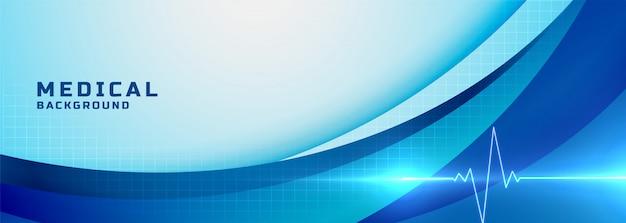 青い医療科学とヘルスケアのバナー
