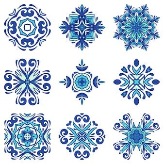 青い地中海のタイルコレクション。飾り曼荼羅アートのセットです。バンドルセラミック装飾