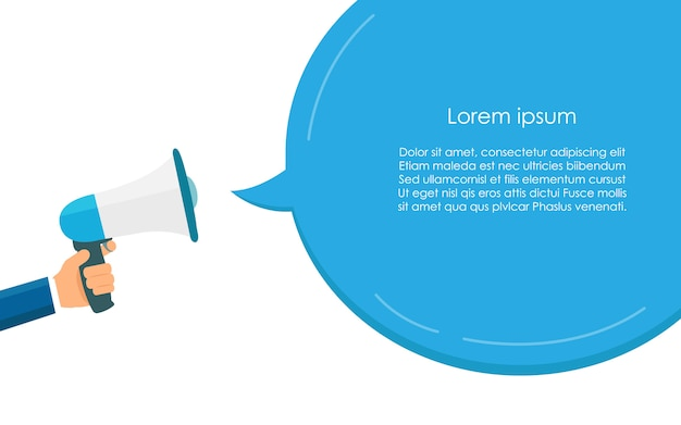Blue megaphone for communication and speech bubble template