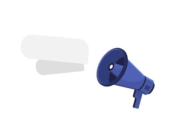 Blue megaphone with empty speech bubble in flat design