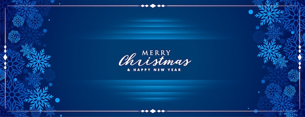 Blue merry christmas banner with snowflakes decoration