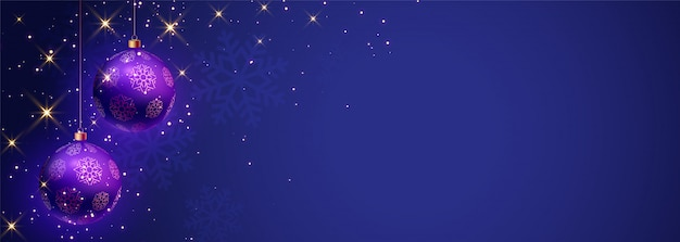 Blue merry christmas banner with text space