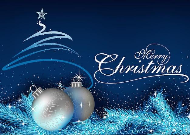 Голубое поздравление с рождеством с шарами и хвойными ветками с эффектом блеска