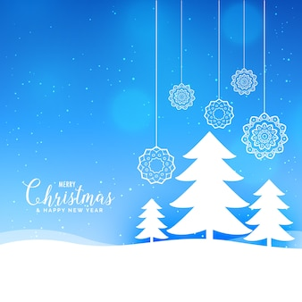 Blue merry christmas landscape background with paper style tree and balls