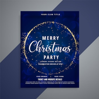 Blue merry christmas sparkles party flyer template
