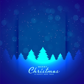 Blue merry christmas tree and snowflakes background