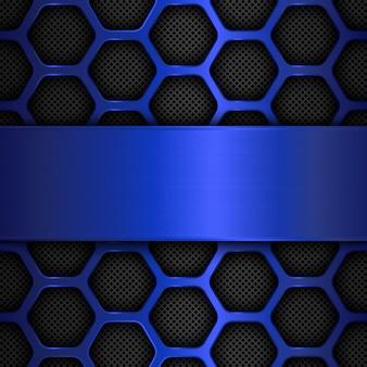 青い金属の背景。六角形のハニーコームステンレススチールメッシュ。図