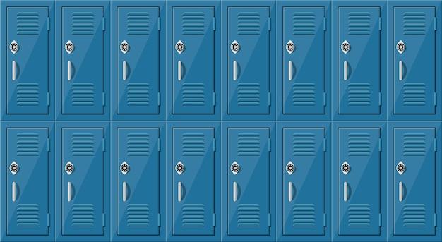 파란색 금속 캐비닛. 은색 손잡이와 자물쇠가있는 학교 나 체육관의 사물함.