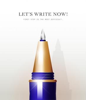 흰색 바탕에 파란색 금속 펜 도구입니다. 텍스트 공간. office 도구 아이콘을 작성합니다. 금속 질감. 모의 쓰기. 펜을 닫습니다. 문자 메세지. 비즈니스 포스터, 배너, 쓰기 그림