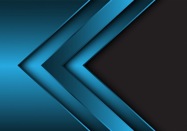 Blue metallic arrow direction grey blank space background.