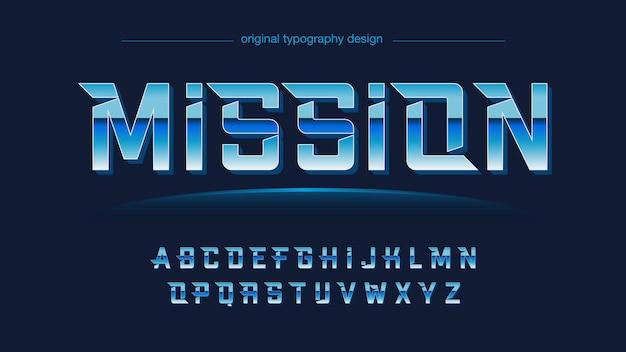 Blue metallic futuristic 타이포그래피