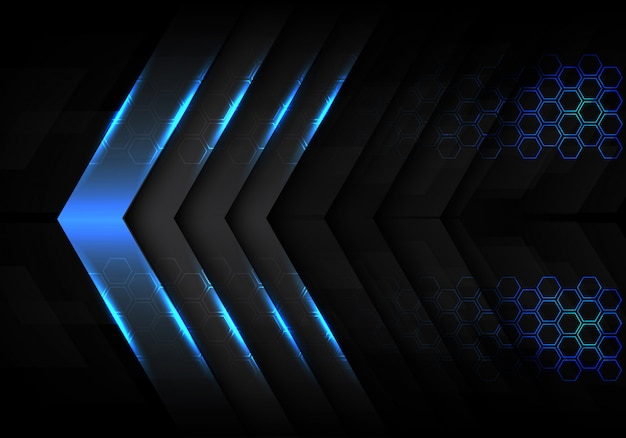 Blue metallic light arrow direction hexagon background.