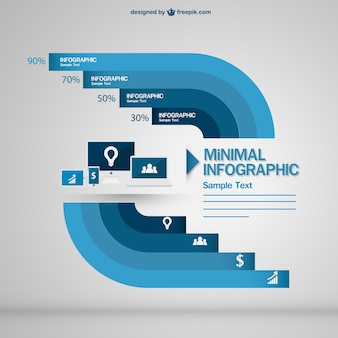 Blue minimal infographic with electronic devices