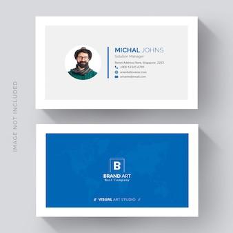 Синий минимальный современный дизайн визитной карточки спереди и сзади