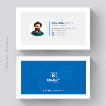 Blue minimal modern business card design front and back