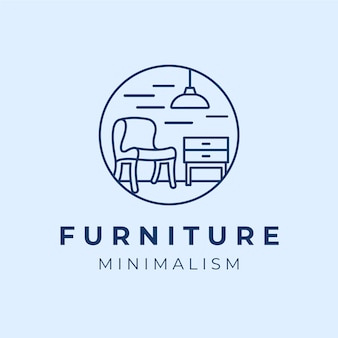Синий минималистичный логотип мебели