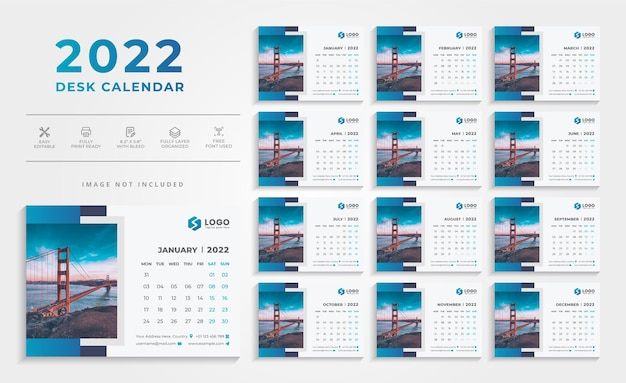 Шаблон настольного календаря blue modern 2022