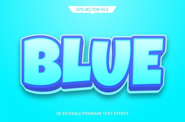 青のモダンな3d編集可能なテキストスタイル効果プレミアムベクトル