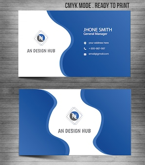 Blue modern abstract business card template