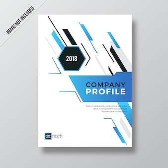 Blue modern abstract element company profile design