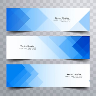 Blue modern banners with triangular shapes