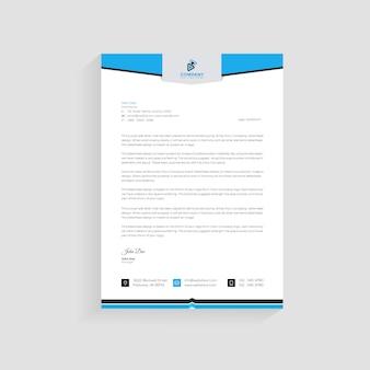 青い現代会社レターヘッドデザインテンプレートプレミアム