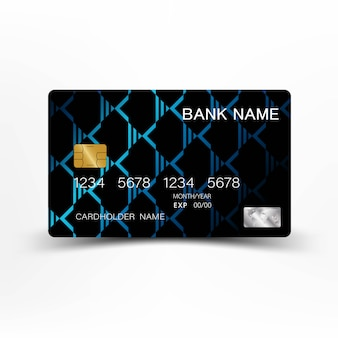Blue modern credit card template design.