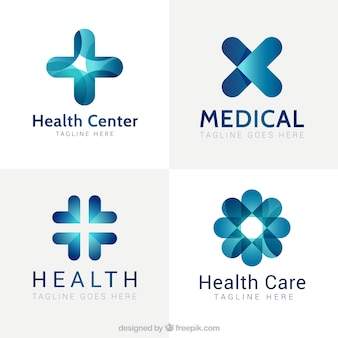 Blue modern medical center logos