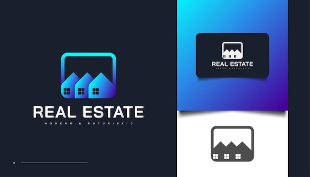 블루 현대 부동산 로고 디자인 템플릿입니다. 건설, 건축 또는 건물 로고 디자인 템플릿