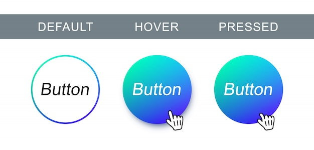 Blue modern, trendy button in different state. abstract round button for web design and interface.