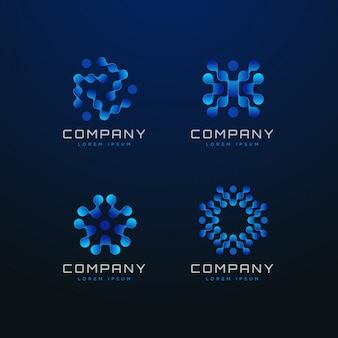Blue molecular dots logo collection