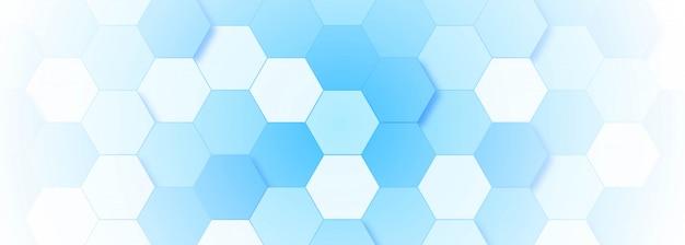 青い分子構造バナーテンプレート