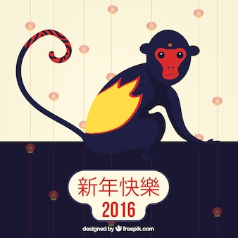 Blue monkey year background