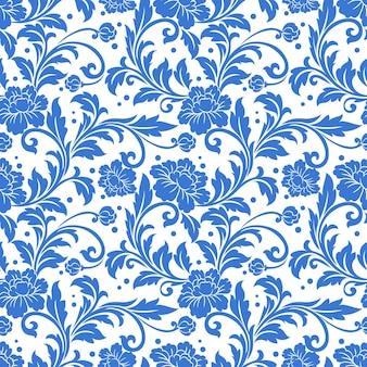 블루 단색 꽃 장식 완벽 한 패턴입니다.