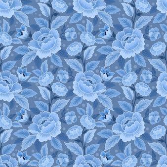 Blue monochrome flower ornament seamless pattern.
