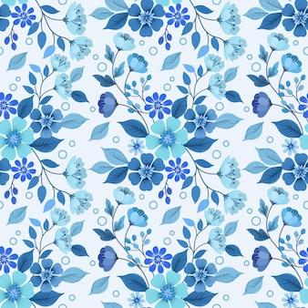 青いモノクロの花と葉のシームレスなパターン。