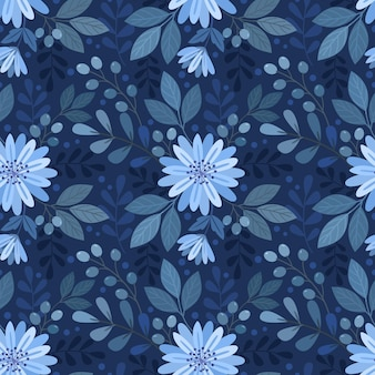 Blue monochrome flowers and leaf seamless pattern.