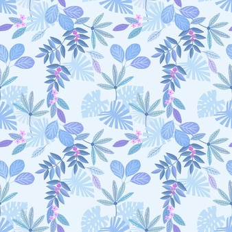 Blue monochrome leaf seamless pattern for fabric textile wallpaper.