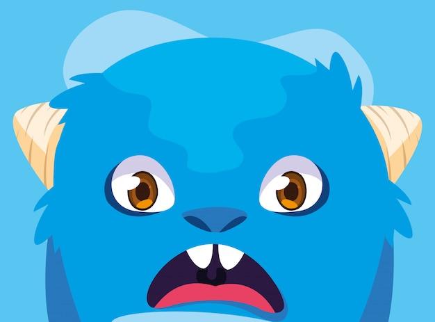 Blue monster cartoon